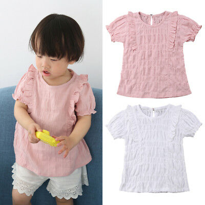 AU Canis Toddler Baby Girl Cotton&Linen Short Sleeve Tops T-shirt Summer Clothes