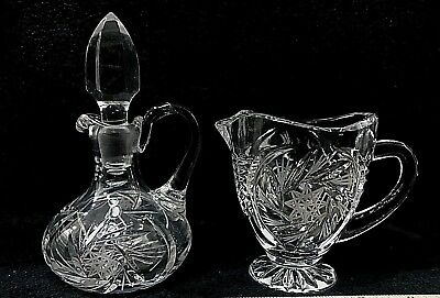 Clear Crystal Glass Cruet and Creamer Etched STAR OF DAVID Pinwheel