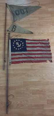 Antique US 13 Star Ensign Flag + B DOT Burgee Pennant Boat Ship Yacht Old Maine