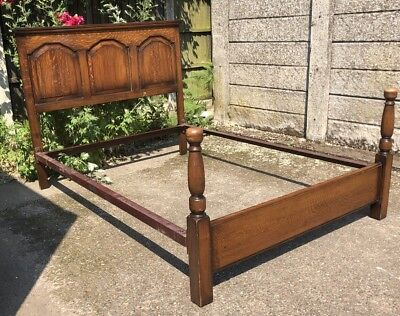 Fine Arts & Crafts Solid Oak Double Bed