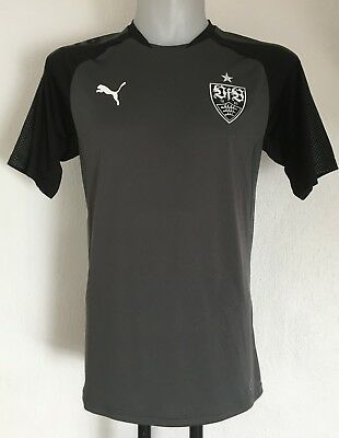 Stuttgart S/s Grey/black Training Shirt By Puma Size Medium Brand New With Tags