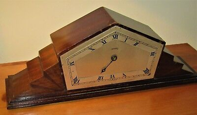 Very Nice 1930's Ferranti Art Deco Styled Wooden Mantle Clock For Restoration.