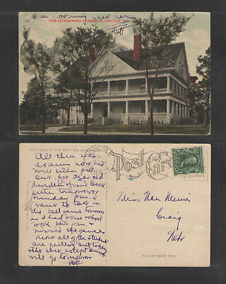 1908 The Governors Residence Lincoln Neb Postcard