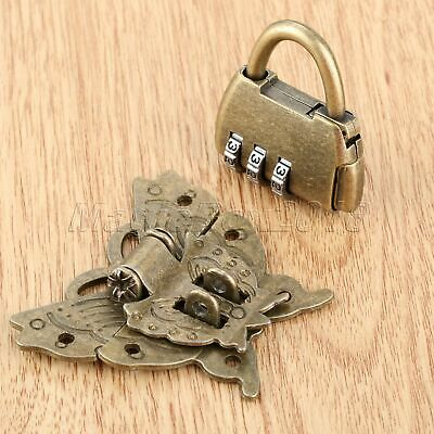Chinese Old Password Padlock Lock Key w/ Butterfly Box Latch Clasp Hardware Set