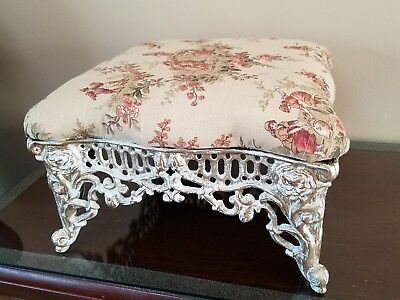 Iron Foot Stool Vintage distressed gold cottage shabby french victorian toile