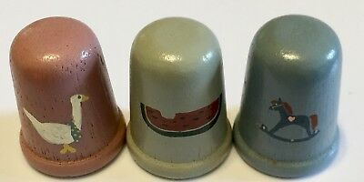 Wood Thimble Lot 3 Watermelon Rocking Horse Duck Hand Painted
