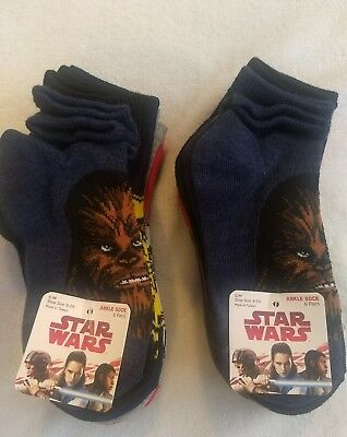 12 Pairs Boys Two Pack Lot Unisex Disney Star Wars Ankle Socks S/M Shoe 9-2.5