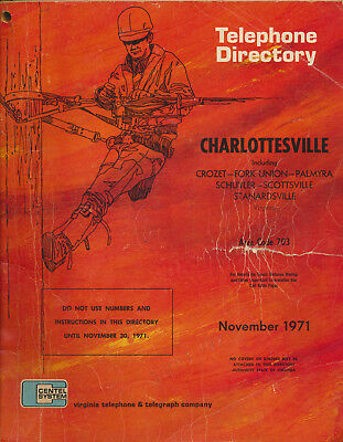 1971 Charlottesville Virginia Telephone Directory Great Yellow Page Advertising