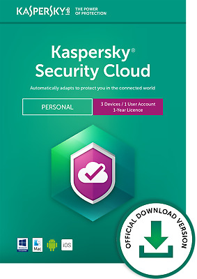 Kaspersky Security Cloud Personal 3 Devices 1 Year PC/Mac/iOS Official Download