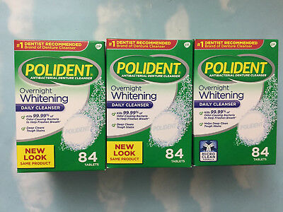 Lot(3) Polident Overnight Whitening Antibacterial Denture Cleanser 84 Tablets Ea