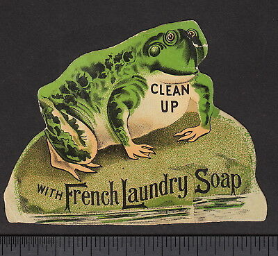 Frog 1800's Die-Cut Kendall Providence RI Laundry Soap Soapine Advertising Card