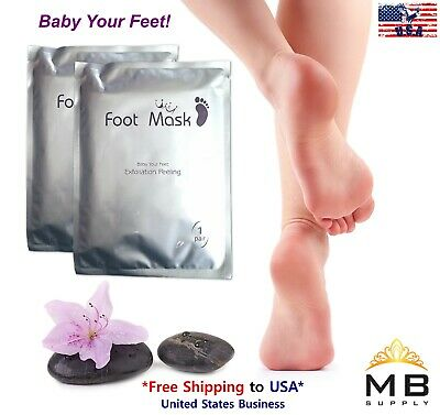 Foot Peeling Mask-2 Pairs-Exfoliate Cracked Dead Skin Makes Feet Baby Soft USA