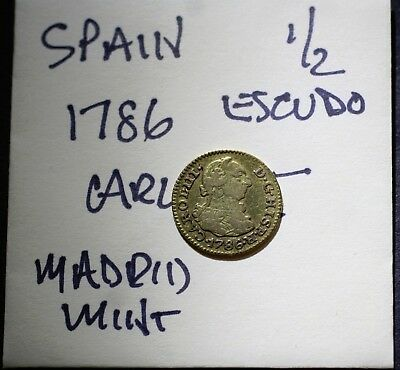1786 GOLD Spain, 1/2 Escudo, Carlos III, Madrid Mint, Old Gold Coin