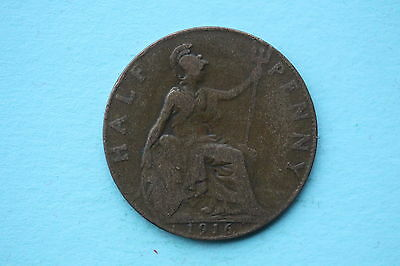 George V Halfpenny 1916 British 20th century coin