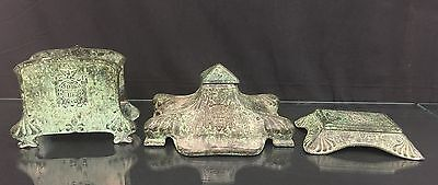 Beautiful Antique / Vintage 20th Century Bronze Desk Set With American Eagle