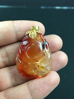 Gorgeous Antique Chinese Hand Carved Red Carnelian Semi Precious Stone Pendant