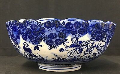 Gorgeous Antique Chinese Blue & White Porcelain Bowl With Children Playing