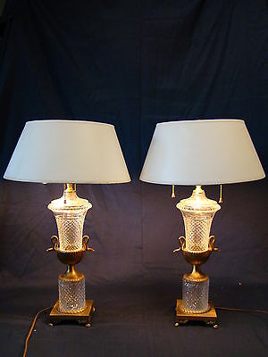 Gorgeous Pair of French Baccarat Cut Glass Crystal & Bronze Table Lamps 19th C.