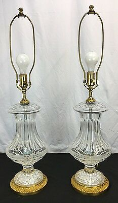 Gorgeous Pair of Baccarat Style French Glass Lamps Fabulous Size