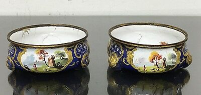 Gorgeous Pair of Antique 18th Century French Enameled Butter Containers