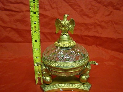 Outstanding Antique 19th Century Baccarat Crystal & Bronze Trinket Box