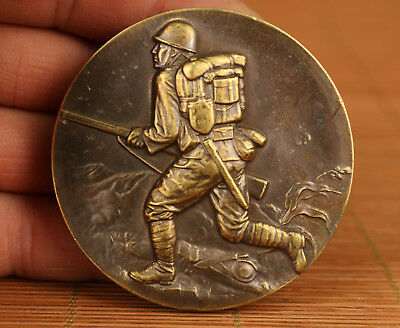 Japan Old Bronze Handmade Carved WWII(Second World War) soldier Statue Coin