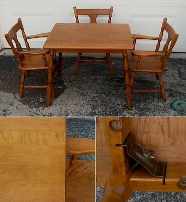Vintage 1960's Toddler-Sized Wood Table w/ (3) Matching Chairs