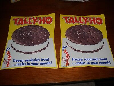 NOS Tally - Ho Ice Cream Sandwich Vintage Ice Cream Parlor Paper Poster Lot of 2