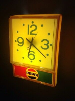 Vintage (light up) Pepsi Clock 1980's 1983 16 X 12 X 7 Inches