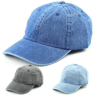 4c35778b378 Mens Womens Denim Classic Plain Baseball Hat Cap Sports Adjustable 100%  Cotton