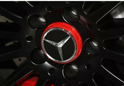 New MERCEDES AMG ALLOY WHEEL HUB CENTRE CAPS - RED/BLACK 75MM A B C E S ML CLASS