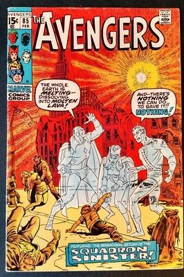 The Avengers #85 (Feb 1971, Marvel) Vision, Scarlet Witch & Quick Silver c/story