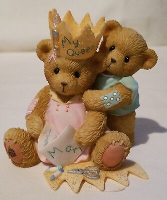 Cherished Teddies Bear Figurine Queen For A Day... Cherished Forever Mom Crown