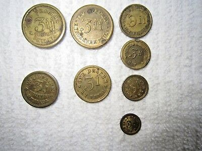 Set Of  8 Henry Troemner Apothecary Coin Type Token Scale Weights