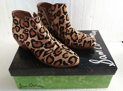 6caf46de9 SAM EDELMAN Petty Leather Leopard Brahm Zip-Up Ankle Boots US Size 6 - EX