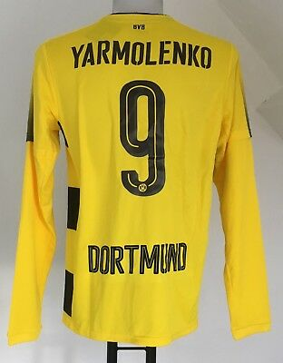 Borussia Dortmund 2017/18 L/s Home Shirt Yarmolenko 9 By Puma Size Adults Medium