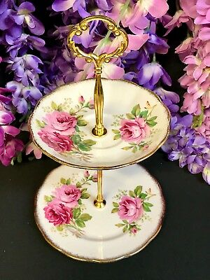 Royal Albert American Beauty 2 tier Tea Vintage Cake Stand High Tea Pink Roses