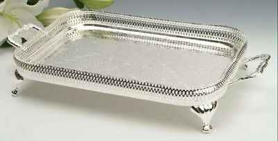 Vintage Silver Plated Rectangle Gallery Tray with Legs Gift SALE