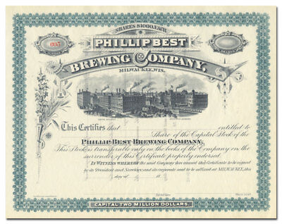 Phillip Best Brewing Company Stock Certificate (Pabst)