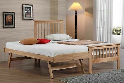 Pentre Solid Hardwood Guest Bed In Oak Finish With Underbed Trundle