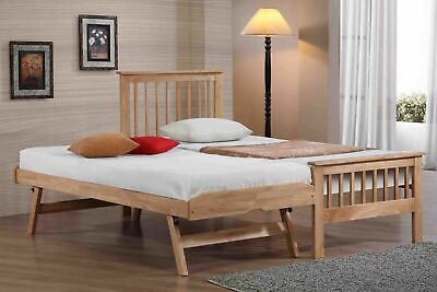 Pentre Wooden Oak Guest Day Bed Frame With Underbed Lift Up Trundle