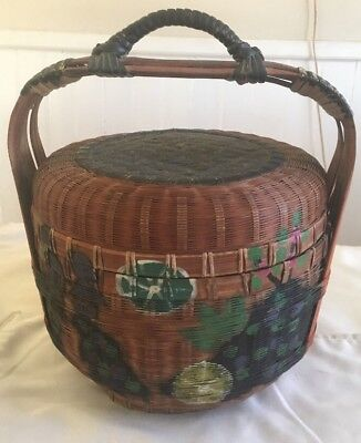 Antique Chinese Wicker Reed Handled Sewing Basket Hand Painted