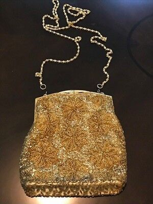 Gorgeous Hand made Vintage Gold Sequined Evening Bag / Purse - 1920s