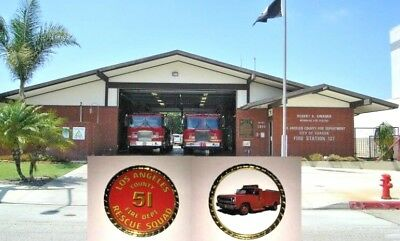 Beautiful  LA County Station 51 fire fighter Rescue Squad  Remembrance Coin