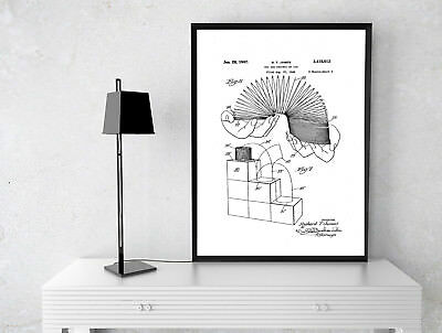 Patent Slinky Toy Print  A4 Poster Print Wall Art 280Gsm Satin Ideal Gift