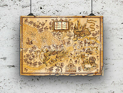 HARRY POTTER WORLD Of Harry Potter Map, High Quality Print ...
