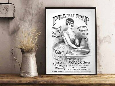 Pears Soap Vintage Advert Bathroom Toilet Home A4 Poster Print Wall Hanging