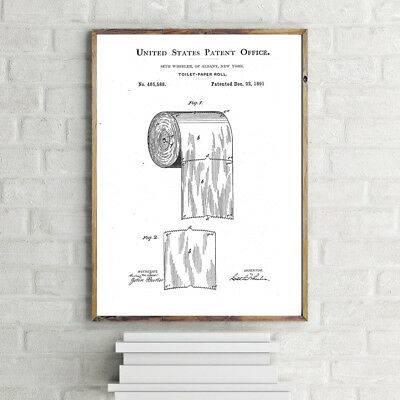 Us Patent Toilet Roll Print Bathroom A4 Poster Print Wall Art 280Gsm Satin