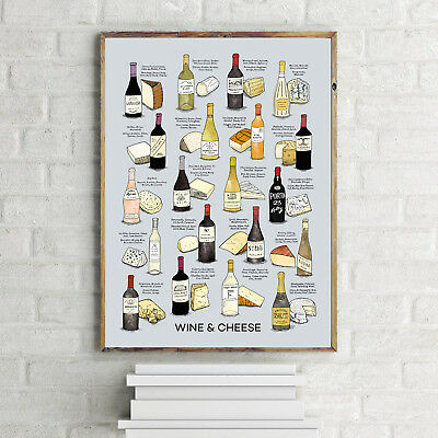 Inspirational Kitchen Wine And Cheese Quote.a4 Poster Print Home Decor