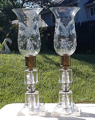 Pair Of Antique Tall, Elegant Hurricane Mantle, Boudoir Lamps Cut Glass Matching